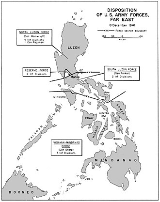 Philippines Campaign (1941–42) - Disposition of United States Army forces in the Philippines in December 1941