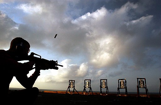 US Navy 020919-N-4309A-002 A Sailor requalifies on the M-16A3 rifle during a weapons fire aboard the ship