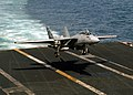 US Navy 040125-N-1928O-087 An F-14 Tomcat assigned to the Checkmates of Fighter Squadron Two One One (VF-211) prepares to land on the flight deck aboard USS Enterprise (CVN 65).jpg