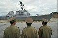 US Navy 040728-N-8796S-093 Vietnamese military officials watch as USS Curtis Wilbur (DDG 54) prepares to moor in the Vietnamese port of Da Nang.jpg