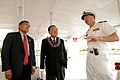 US Navy 040812-N-3228G-001 Commander, Navy Region Hawaii-Commanding Officer, Naval Station Pearl Harbor Capt. Ronald R. Cox speaks with the U.S. Transportation Secretary Norman Mineta, left, and U.S. Sen. Daniel Inouye.jpg