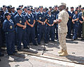 US Navy 040821-N-0401E-026 Sgt. Maj. of the Marine Corps John Estrada talks to Sailors aboard USS Mobile Bay (CG 53).jpg