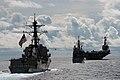 US Navy 070814-N-3284V-077 Arleigh Burke-class destroyer USS Preble (DDG 88), Ticonderoga-class cruiser USS Antietam and Nimitz-class aircraft carrier USS John C. Stennis (CVN 74) transit in formation during a joint photo exerc.jpg
