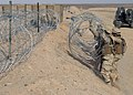 US Navy 090320-N-8574M-033 Seabees assigned to Naval Mobile Construction Battalion (NMCB) 5 place concertina wire to complete a section of a triple-strand protective barrier.jpg