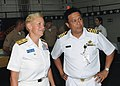 US Navy 100510-N-8377A-040 Rear Adm. Nora Tyson and Col. Abdul Halim attend a reception aboard the amphibious dock landing ship USS Tortuga (LSD 46).jpg