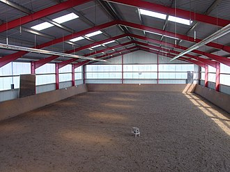 Riding hall - Interior view of a riding hall with watering facilities