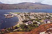 A view of Ullapool from a nearby hill
