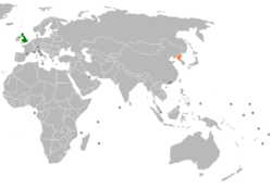 Map indicating locations of United Kingdom and North Korea