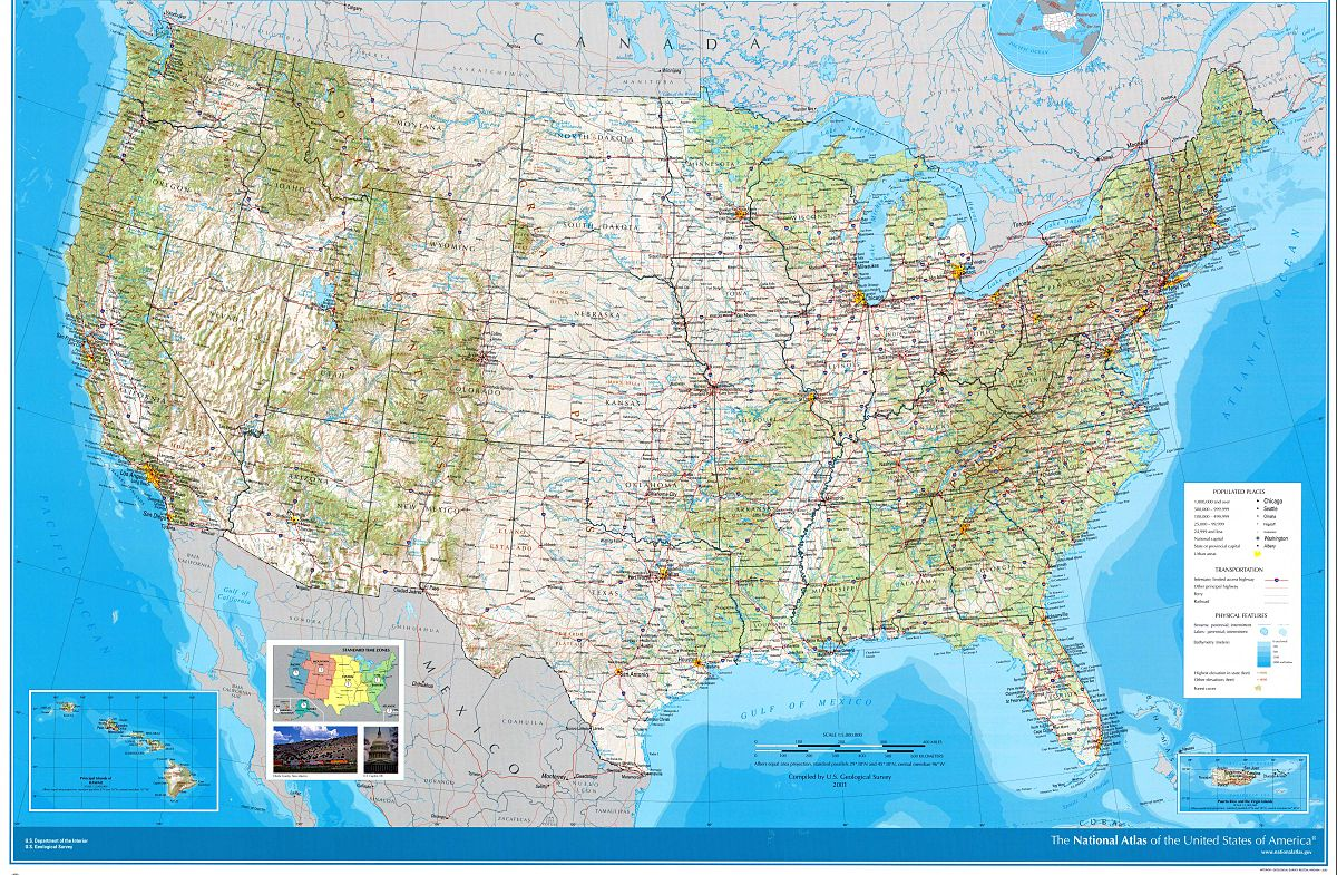 National Atlas Of The United States Wikipedia - Map of united states and cities