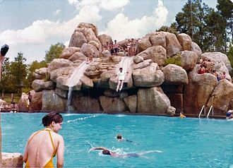 Disney's River Country - Slippery Slide Falls and Upstream Plunge in 1977.