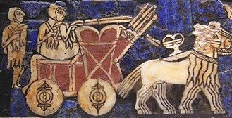 "Wheel - A depiction of an onager-drawn cart on the Sumerian ""battle standard of Ur"" (c. 2500 BCE)"
