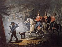 An American Loyalist leads three Hessian hussar horsemen on patrol through the woods.