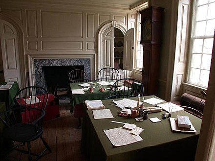 Aides-de-camp's office inside Washington's Headquarters at Valley Forge. General Washington's staff officers worked in this room writing and copying the letters and orders of the Continental Army. Valley Forge aides-de-camp office.jpg