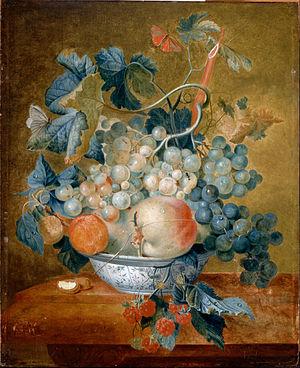 Francina Margaretha van Huysum - Image: Van Huysum, Michiel A Delft Bowl with Fruit Google Art Project