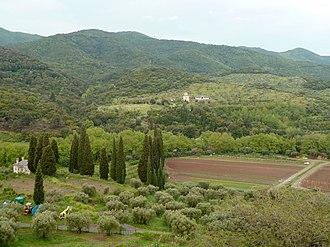 Mount Athos - View of the area around Vatopedi monastery