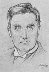 drawing of youngish man with full head of hair, clean shaven, looking towards the artist