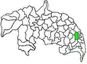 Vemuru mandal - Mandal map of Guntur district showing   Vemuru mandal (in green)