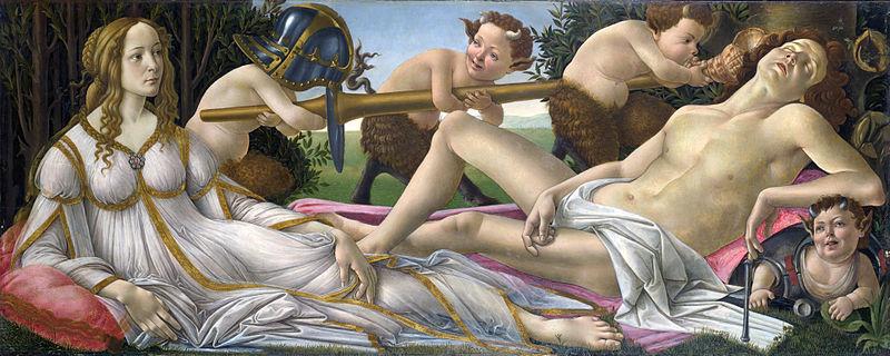 Sandro Botticelli,Venere e Marte, 1480 ca.,Neoplatonismo-Rinascimento