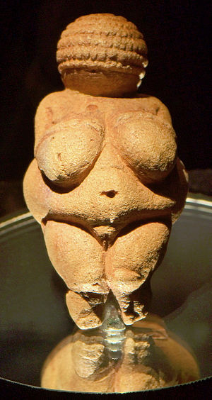 Culture of Europe - The Venus of Willendorf, figure from between 28,000 and 25,000 BC. Now in the Naturhistorisches Museum, Vienna. An example of prehistoric art.