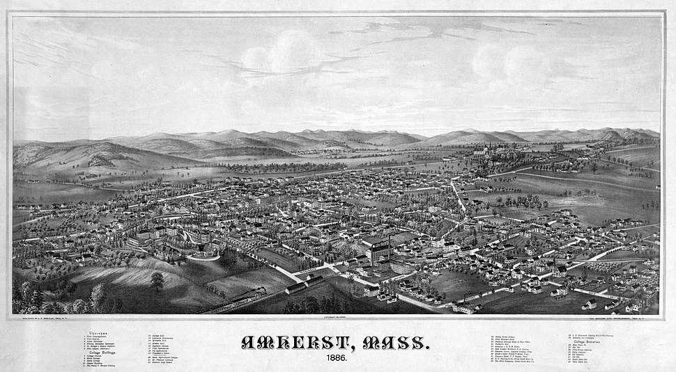 View of Amherst MA in 1886 - LOC 00406u