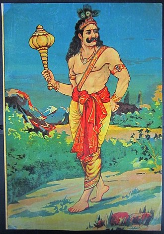 Bhima - Bhimasena the king of Kamyaka Forest by Raja Ravi Varma (1848–1906)