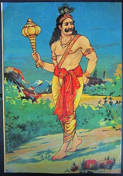File:Vintage Bhim oleograph litho Ravi Varma Press B.jpg