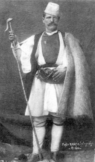 Aromanians - Aromanian shepherd in traditional clothes, photo from the early 1900s, Archive: ''Manaki Brothers''.