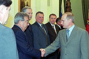 Yevgeny Primakov - Leader of Fatherland – All Russia Duma faction Yevgeny Primakov meets President Vladimir Putin, 2000