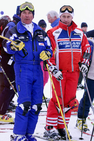 Ski suit - Karl Schranz in a one-piece and Vladimir Putin in a two-piece ski suit