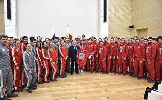 Olympic Athletes from Russia at the 2018 Winter Olympics - Vladimir Putin, the President of Russia, meets Russian athletes, 31 January 2018