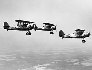 Neutrality Patrol - U.S. Navy Vought SBU-1 dive bombers of scouting squadron VS-42 flying the Neutrality Patrol in 1940