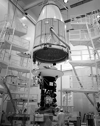 The 1800 pound heavy Voyager 2 spaceprobe is e...