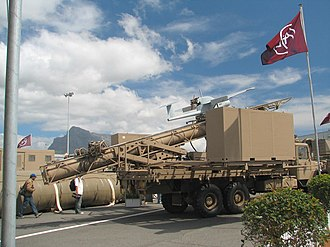 South African Army Artillery Formation - SAMIL 100 carrying a Vulture UAV.