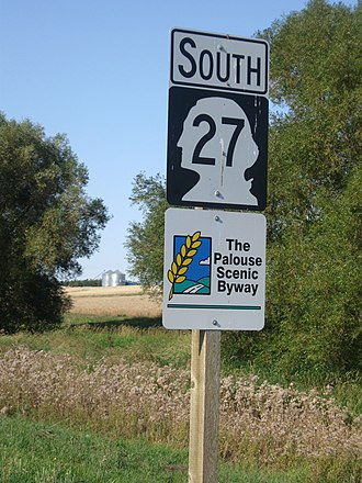 Washington State Route 27 - A reassurance shield on SR 27 south of Tekoa, designated as part of the Palouse Scenic Byway