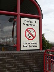 The signs at Wallsend Metro station are in English and Latin as a tribute to Wallsend's role as one of the outposts of the Roman empire.
