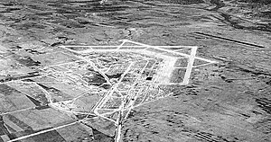 Marine Corps Air Facility Walnut Ridge - Oblique airphoto of Walnut Ridge Army Airfield, looking northeast, taken while under construction in 1942