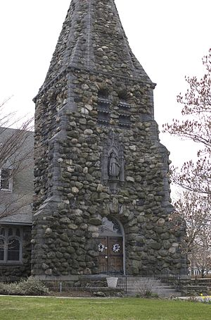 Christ Episcopal Church (Waltham, Massachusetts) - Fieldstone base of the church's stone steeple