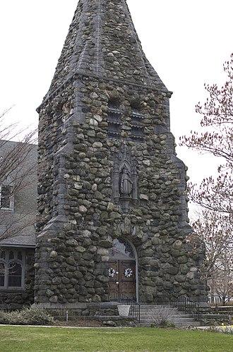 Christ Episcopal Church (Waltham, Massachusetts) - Fieldstone base of the church's stone steeple