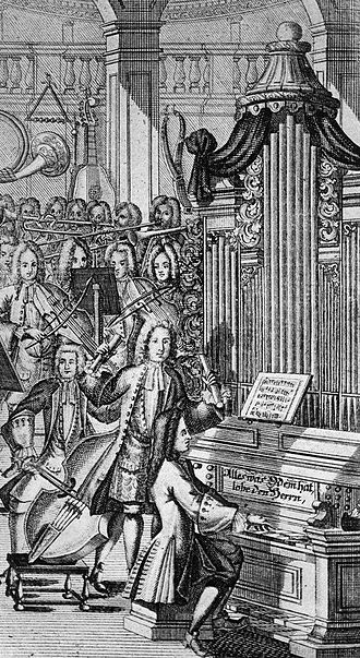 Keyboard concertos by Johann Sebastian Bach - Composer directing cantata from gallery in a church, engraving from Musicalisches Lexicon, Johann Gottfried Walther, 1732