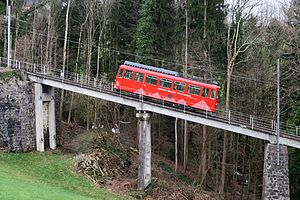 Rheineck–Walzenhausen mountain railway - BDeh 1/2 1 on Hoftobel Bridge