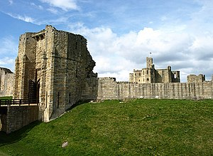 Warkworth Castle - Warkworth Castle's gatehouse (left) dates mostly from the 13th century.
