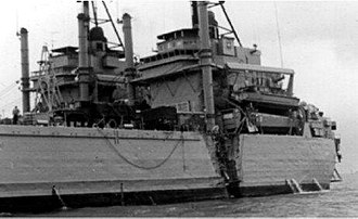 USS Washtenaw County (LST-1166) - Damage to USS Washtenaw County (LST-1166) as a result of a collision with the SS Kota Selatan while entering Hong Kong Harbor in 1970