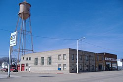 Water Tower and businesses from 3rd and Main - panoramio.jpg