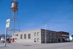 Ocheyedan, Iowa - Image: Water Tower and businesses from 3rd and Main panoramio