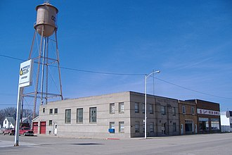 Ocheyedan, Iowa - Image: Water Tower and businesses from 3rd and Main panoramio