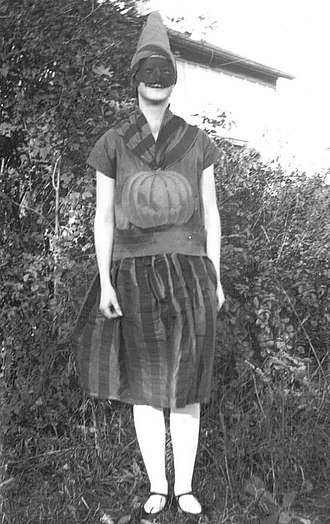 "Trick-or-treating - Girl in a Halloween costume in 1928, Ontario, Canada, the same province where the Scottish Halloween custom of ""guising"" is first recorded in North America"