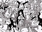 Cartoon of the riot during Schoenberg's concert