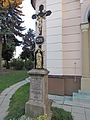 Wayside cross near Church of Saints Cyril and Methodius in Nové Syrovice, Třebíč District.JPG