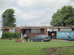 Enhanced Fujita scale - EF2 damage example -- Roof is completely removed from the house