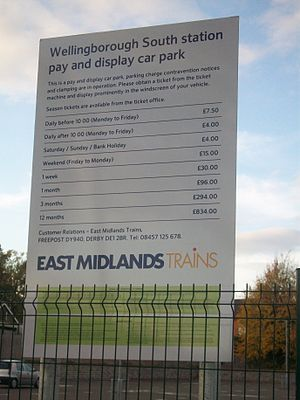 Wellingborough railway station - Wellingborough South Car Park sign.